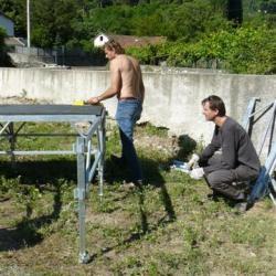 Installation de la scène - Eric et Elie-Pierre