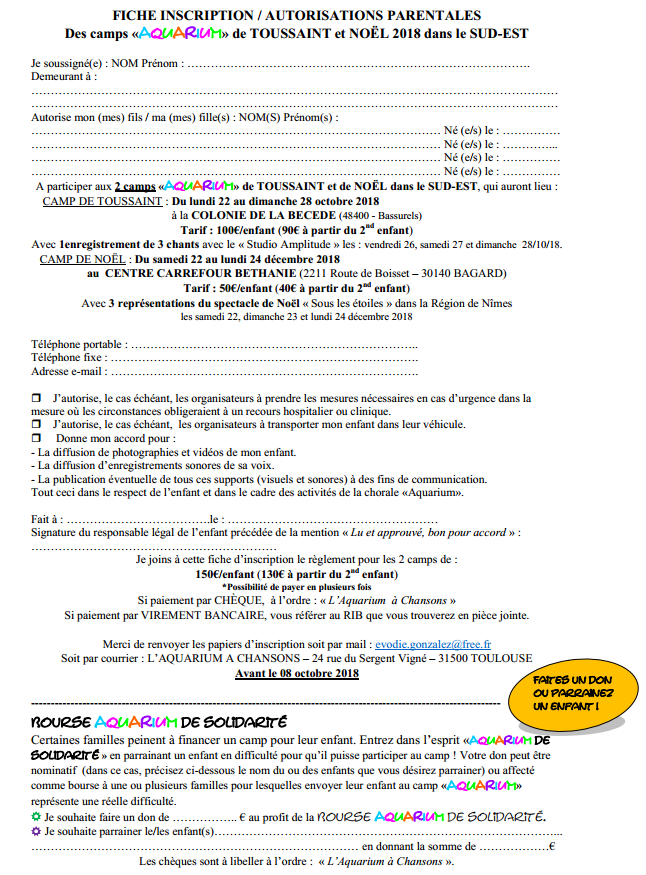 Fiche inscription autorisations parentales camps oct dec 2019